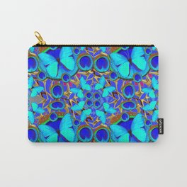 Abstract Decorative Aqua Blue Butterflies On Charcoal Grey Art Carry-All Pouch