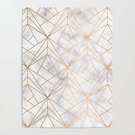 Geometric Gold Pattern on Marble Texture Poster