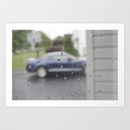 Mustang in Rain Art Print