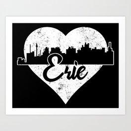 Retro Erie Pennsylvania Skyline Heart Distressed Art Print