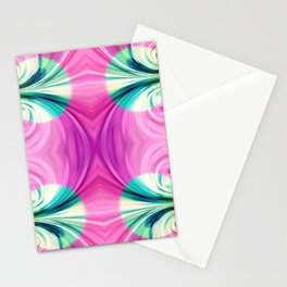 Light green circles on pink Stationery Cards