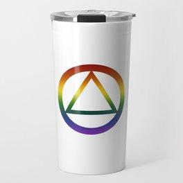 Alcoholics Anonymous Rainbow Pride Symbol Travel Mug