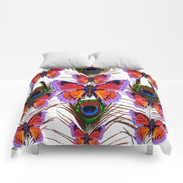 LILAC  FANTASY BUTTERFLIES GREEN PEACOCK EYES Comforters