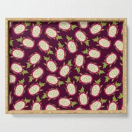 Dragon fruit on burgundy background Serving Tray