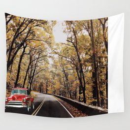 Vintage Car on Skyline Drive Wall Tapestry