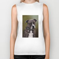 bull terrier Biker Tanks featuring Staffordshire Bull Terrier by Carl Conway