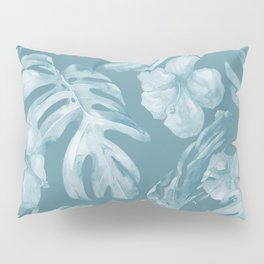 Tropical Escape Teal Blue Leaves + Hibiscus Pillow Sham
