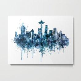 Seattle Skyline monochrome watercolor Metal Print