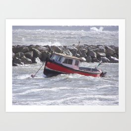 Bobbing boat Art Print
