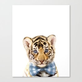 Baby Tiger With Bow Tie, Baby Animals Art Print By Synplus Canvas Print