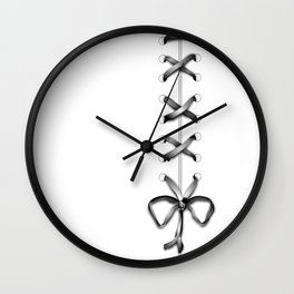 Laced Gray Ribbon on White Wall Clock