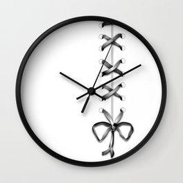 Laced Gray Ribbon on White Wall Clock