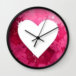 Pink watercolor splash heart texture Wall Clock