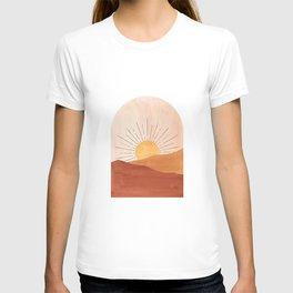 Abstract terracotta landscape, sun and desert T-shirt