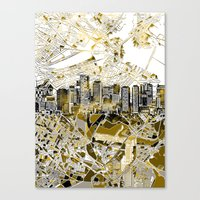 boston map Canvas Prints featuring boston city skyline map by Bekim ART