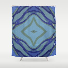 Blue Wave Nautical Medallion Shower Curtain
