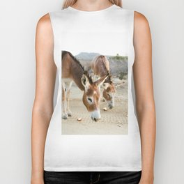 Two Donkeys Eating Apples Biker Tank