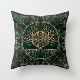 Flower of Life in Tree of life Malachite and Gold Throw Pillow
