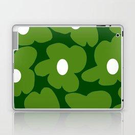 Spring Green Retro Flowers Dark Green Background #decor #society6 #buyart Laptop & iPad Skin