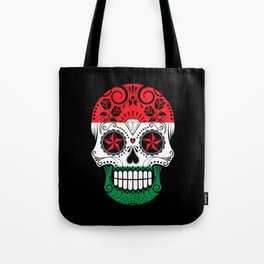 Sugar Skull with Roses and Flag of Hungary Tote Bag