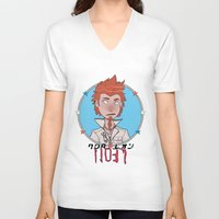 leon V-neck T-shirts featuring Leon by Jinny Hinkle