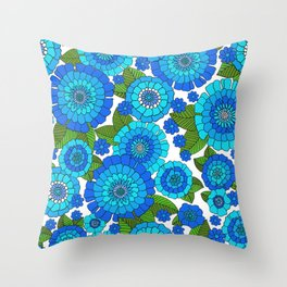 Busy bunch Blues Throw Pillow