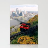 steelers Stationery Cards featuring An Autumn Day on the Duquesne Incline in Pittsburgh, Pennsylvania by Ed Lightcap