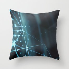 Blue modern dynamic plasma energy laser futuristic virtual technology background Throw Pillow
