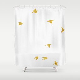 Raven Birds in Gold Copper Bronze Shower Curtain
