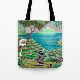 Meeting Friend by  Rice Paddies Tote Bag