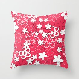Red and white paper flowers 1 Throw Pillow