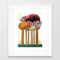 red panda Framed Art Prints featuring Red Panda by Sandra Dieckmann