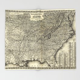 The Lost Cause, Civil War Map (1861-1865) Throw Blanket