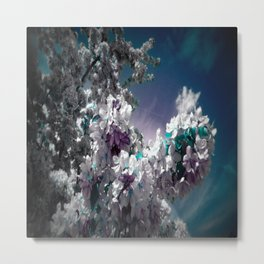 Flowers Purple & Teal Metal Print