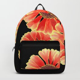 Sneezeweed / Helenium Flower, Floral Watercolor Pattern in Red, Yellow and Black  Backpack