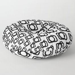 Photography Obsession, Camera Pattern Black and White Vector Floor Pillow