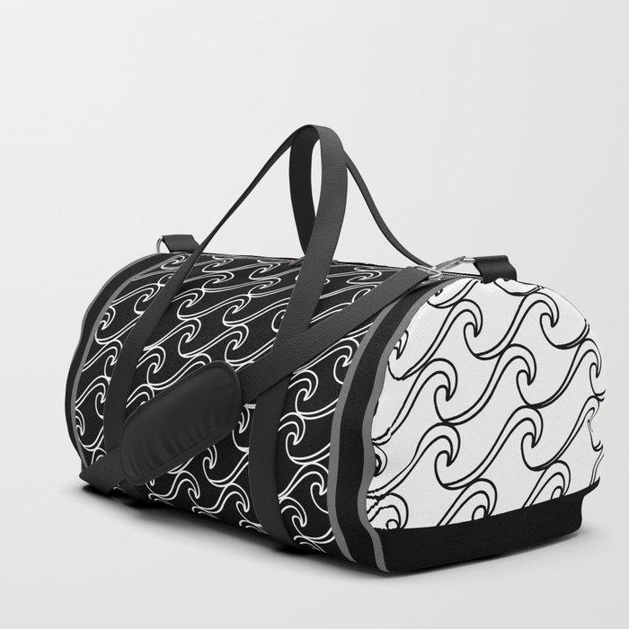 Rough Sea Pattern - black on white Duffle Bag