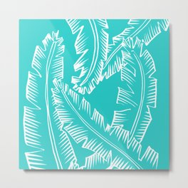 Modern Palm Leaves - Turquoise Blue and White Metal Print
