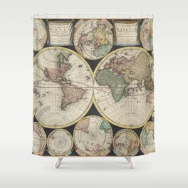 Vintage Map of The World (1696) Shower Curtain