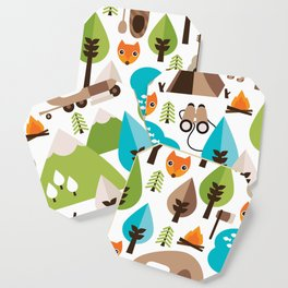 Wild camping trip with fox and wild animals illustration Coaster