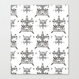 Baron Samedi Voodoo Veve Symbols in White Canvas Print