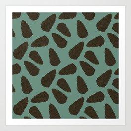 Tree Patterns: Green Pinecones Art Print