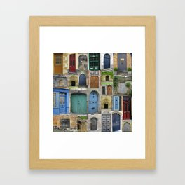 doors in bruges and rural france - a beautiful collage - browns blues greens brown blue green Framed Art Print