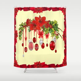 RED CHRISTMAS ORNAMENTS &  POINSETTIAS HOLIDAY ART Shower Curtain