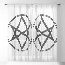 Men of Letters Symbol Black Sheer Curtain