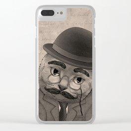 Vintage Cat monochrome Clear iPhone Case