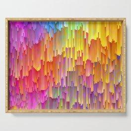 Vibrant Rainbow Cascade Design Serving Tray