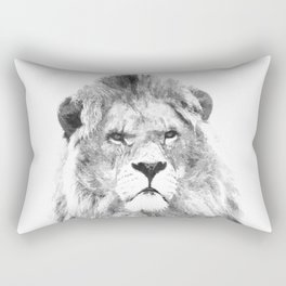 Black and white lion animal portrait Rectangular Pillow