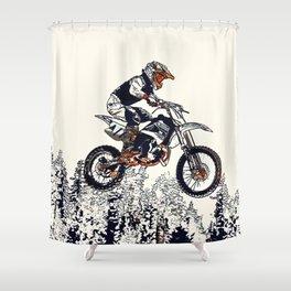 """""""High Flyer"""" Motocross Racer Shower Curtain"""