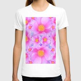 Fuchsia Pink Clustered Rose Garden Art T-shirt